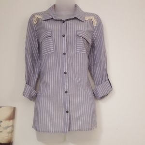 Striped Button Down Shirt w Embroidered Lace Back